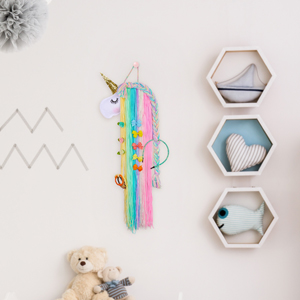 unicorn horn decoration hairclip holder with unicorn face pink unicorn hair bow holder wall hanging