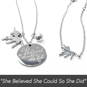 Unicorn Jewelry Set for Girls by The Memory Building Company